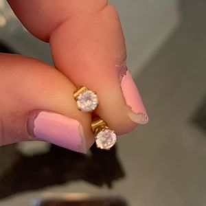 cubic zirconia stud gold plated earrings